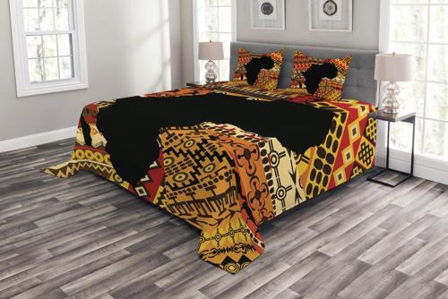 Lunarable African Bedspread, Abstract Style Map on Carpet Ba