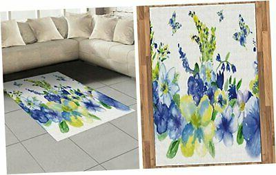 ambesonne yellow and blue area rug spring