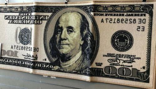 "Big Money 100 Dollar Bill Area Rug Door Mat 22"" x 53"", Origi"