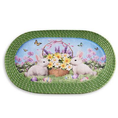 bunny oval braided kitchen rug easter decoration