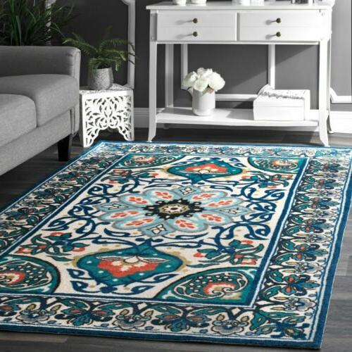 nuLOOM Contemporary Modern Floral Printed Rug in Blue, Ivory
