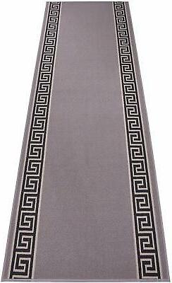 Custom Size Grey Meander indoor Hallway Runner Rug Non Skid