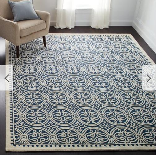 hand made navy ivory wool area rug