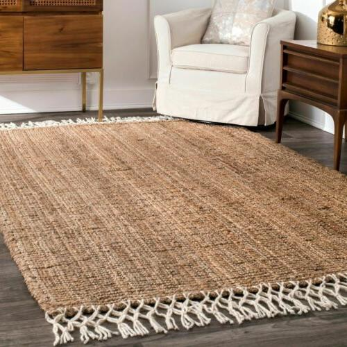nuLOOM Hand Made Natural Jute and Wool Blend Area Rug with F