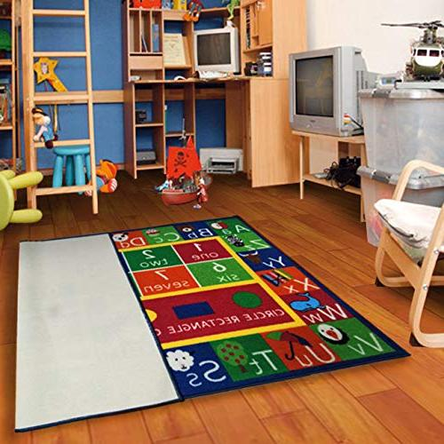 Kids Alphabet Numbers Shapes Area Rug Non Skid Backing Furnishmyplace x Rectangle