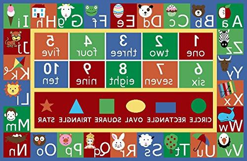 """Kids Rug ABC Numbers and Shapes Area Area Non Furnishmyplace 3'3"""" x 5' Rectangle"""