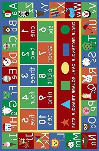 """Kids Rug Numbers and Educational Non by Furnishmyplace 3'3"""" 5' Rectangle"""