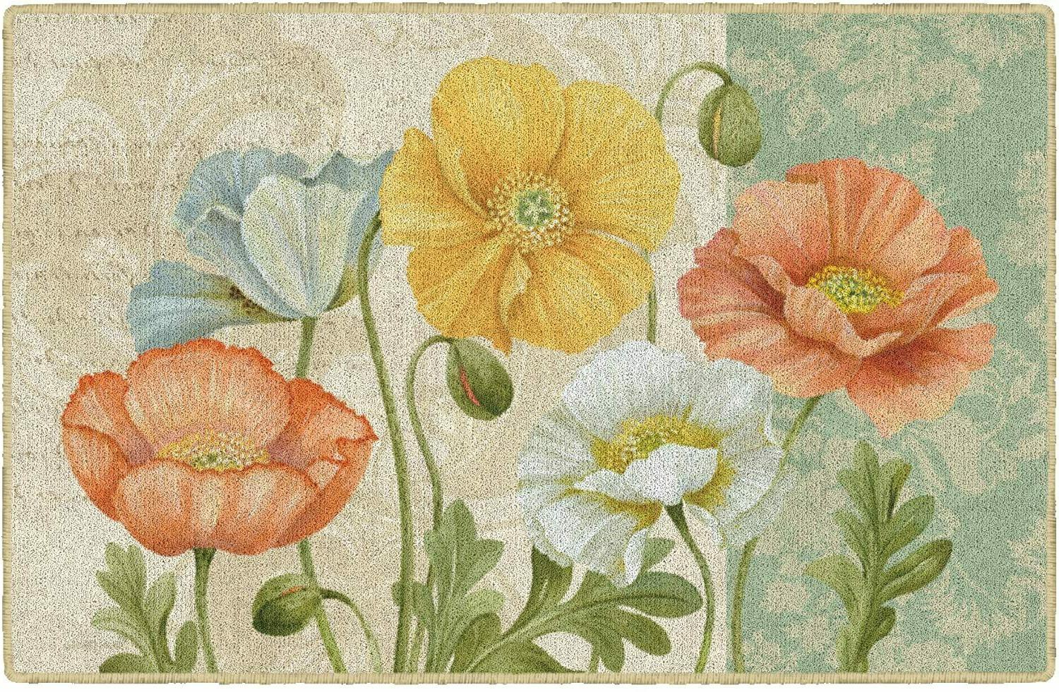 pastel poppies floral area rug 1 8