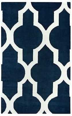 Rizzy Home Volare Wool Rectangular Area Rug 9 x 12' Navy Blu