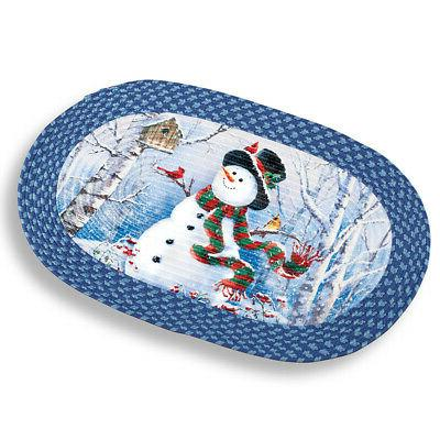 woodland snowman braided christmas rug