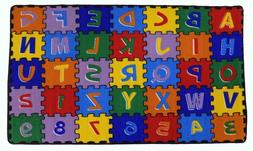 Large Classroom Rugs for Kids ABC Puzzle Educational Area Ru