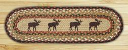 """MOOSE 100% Natural Braided Jute Rug, 27"""" x 8.25"""" Oval, Capit"""