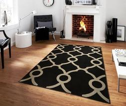 New Black Gray Contemporary Moroccan Trellis Area Rug 8x10 M