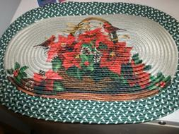 """NEW Collections Etc. Poinsettia Braided Rug 30"""" x 20"""""""