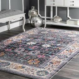 nuLOOM NEW Traditional Vintage Floral Area Rug in Gray, Purp