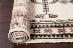 One-of-a-kind Traditional Floral 12 ft IVORY Runner Oriental