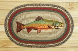 "Earth Rugs OP-244 Trout Design Rug, 20 x 30"", Burgundy/Green"
