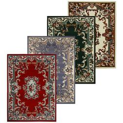 Oriental Floral Border Medallion Area Rug Scrolls Traditiona