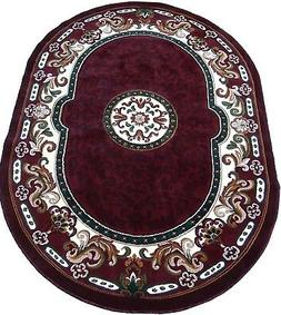 Persian Medallion Oval Woven 5x7 Area Rug Burgundy Actual Si