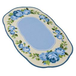 Collections Etc Pink Rose Border Rug with Skid-Resistant Bac