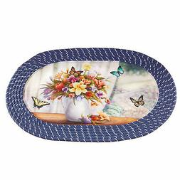 Pretty Flower Bouquet and Butterflies Braided Accent Rug