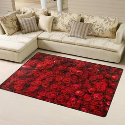 Red Natural Rose Floral Area Rug / Carpet for Living Room 60