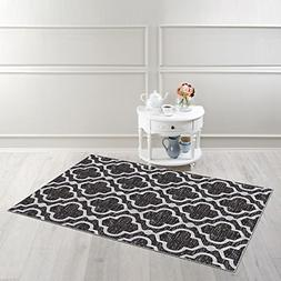 "Kapaqua Rubber Backed 3'4"" x 5' Area Rug Anthracite Black Mo"