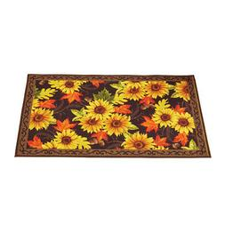 Autumn Sunflower and Maple Leaf Accent Rug