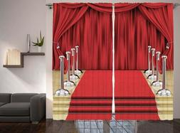 Ambesonne Theatre Curtains, Red Carpet 108x90 100% polyester