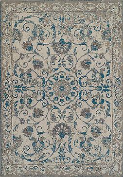 Traditional Rugs 8x10 Blue Gray Distressed Rug 5x8 Vintage C