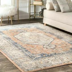 nuLOOM Traditional Vintage Jacquie Floral Area Rug in Peach