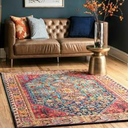 nuLOOM Traditional Vintage Vibrant Area Rug in Red, Blue, Or