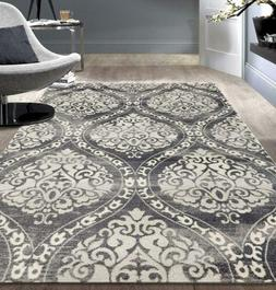 Rugshop Transitional Floral Damask Area Rug 5' x 7' Gray x 7