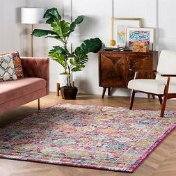 nuLOOM Transitional Floral Distressed Area Rug in Pink, Blue