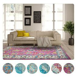 Transitional Oriental Modern Area Rugs Multi-Color Bordered