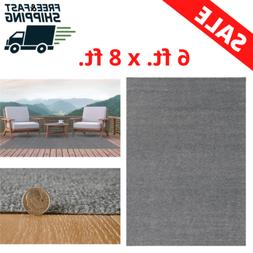 Foss Unbound Smoke Gray Ribbed 6 Ft. X 8 Ft. Indoor/Outdoor