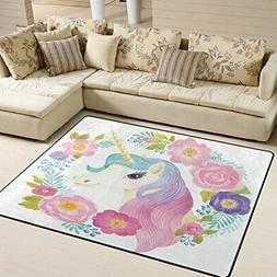 ALAZA Unicorn Head in Wreath of Flowers Area Rug Rugs for Li