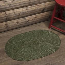 VHC Rustic Rug Cypress Flooring Green Jute Solid Color Oval
