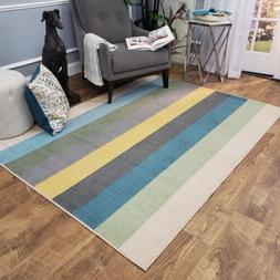 Washable Area Rug Runner Mat Colored Stripes Soft Cut Pile N
