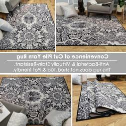 Washable Area Rug Runner Mat Gray Black Damask Soft Cut Pile