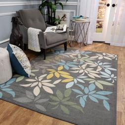 Washable Area Rug Runner Mat Gray Floral Leaves Soft Cut Pil