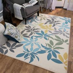 Washable Area Rug Runner Mat Ivory Floral Leaves Soft Cut Pi