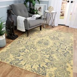 Washable Area Rug Runner Mat Ivory Yellow Damask Soft Cut Pi