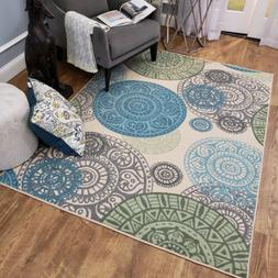 Washable Area Rug Runner Mat Seal Medallion Soft Cut Pile No