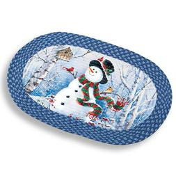 Collections Etc Woodland Snowman Braided Christmas Rug